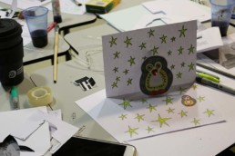 Owl Popup card with conductive ink and LED